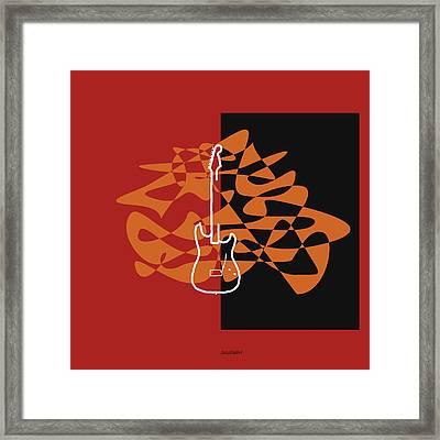 Electric Guitar In Orange Red Framed Print by David Bridburg