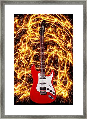Electric Guitar With Sparks Framed Print by Garry Gay