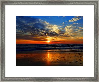 Electric Golden Ocean Sunrise Framed Print