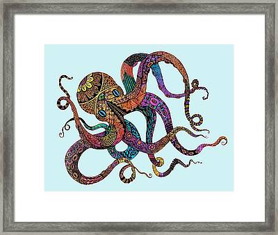 Electric Octopus - Customizable Background Framed Print by Tammy Wetzel