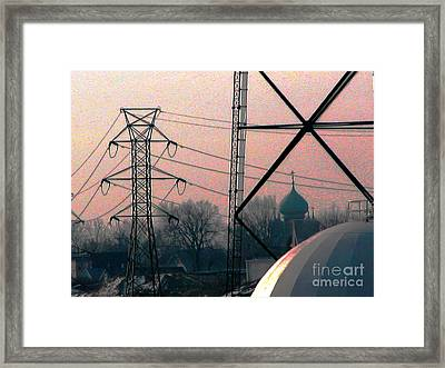 Electric Onion Domes Framed Print by Donna Stewart