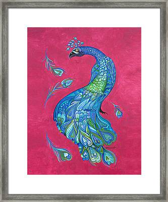 Electric Peacock Framed Print by Michelle Stone
