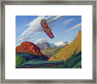 Electric Peak With Hawk Framed Print