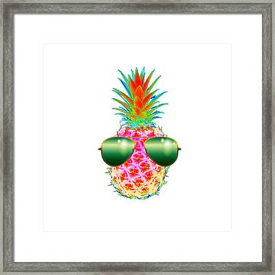 Electric Pineapple With Shades Framed Print