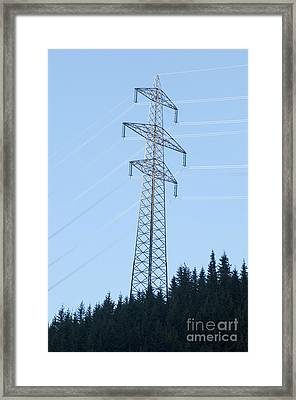 Electric Pylon On Blue Sky Framed Print by Ilan Rosen