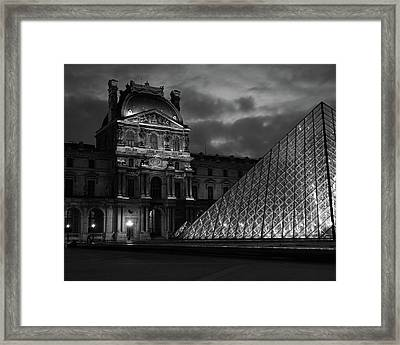 Framed Print featuring the photograph Electric Pyramid, Louvre, Paris, France by Richard Goodrich