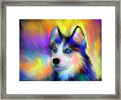 Electric Siberian Husky Dog Painting Framed Print by Svetlana Novikova