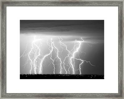 Electric Skies In Black And White Framed Print