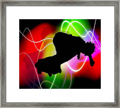 Electric Spectrum Skateboarder Framed Print by Elaine Plesser