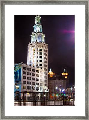 Framed Print featuring the photograph Electric Tower From Behind  by Don Nieman