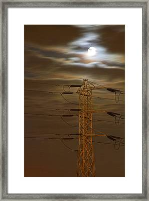 Electric Tower Under Supermoon Framed Print