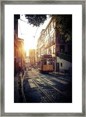 Electric Tram In Lisbon Framed Print