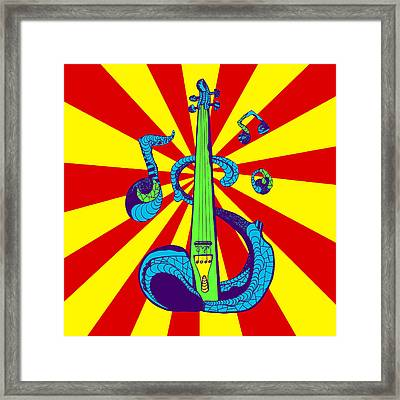 Electric Violin Pop Art Framed Print by Kenal Louis
