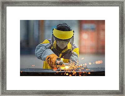 Electric Wheel Grinding On Steel Structure In Factory Framed Print by Anek Suwannaphoom