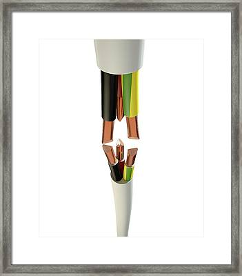 Electrical Cable Cut Framed Print by Allan Swart