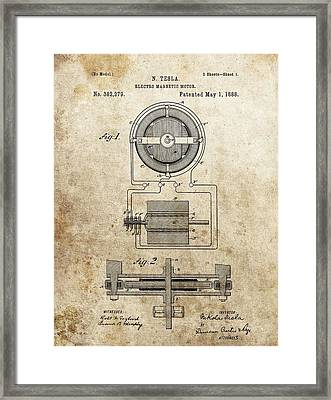 Electro Magnetic Motor Tesla Patent Framed Print by Dan Sproul