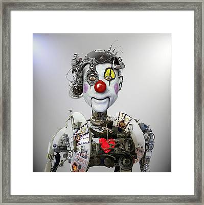 Electronic Clown Framed Print by Ddiarte