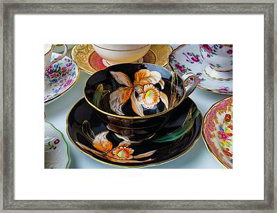 Elegant Black Tea Cup Framed Print