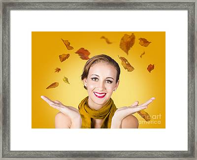 Elegant Female Model Catching Autumn Leaves Framed Print by Jorgo Photography - Wall Art Gallery