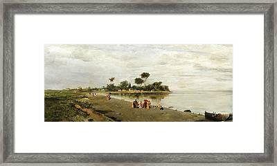 Elegant Figures At The Shore Framed Print