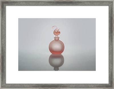 Elegant Frosted Pink Vintage Perfume Bottle Framed Print
