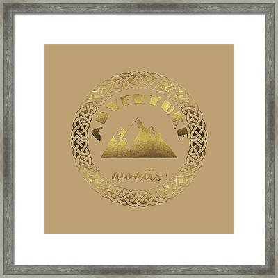 Framed Print featuring the digital art Elegant Gold Foil Adventure Awaits Typography Celtic Knot by Georgeta Blanaru