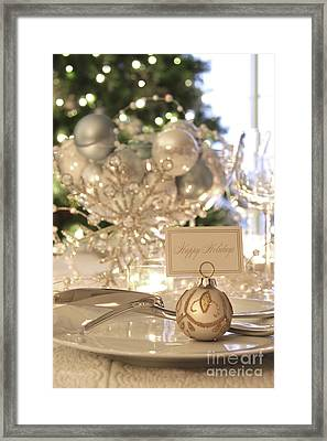 Elegant Holiday Dinner Table With Focus On Place Card Framed Print by Sandra Cunningham