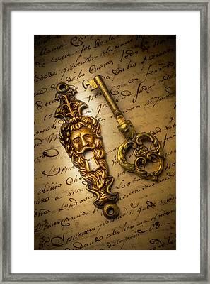 Elegant Keyhole On Old Letter Framed Print by Garry Gay