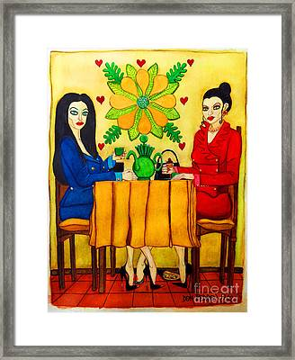 Framed Print featuring the painting Elegant Ladies In A Coffee-shop by Don Pedro De Gracia
