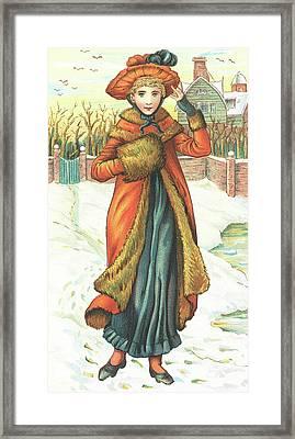 Elegant Lady In Snow, Christmas Card Framed Print by English School