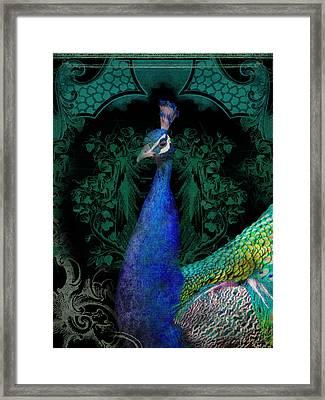 Elegant Peacock W Vintage Scrolls  Framed Print by Audrey Jeanne Roberts