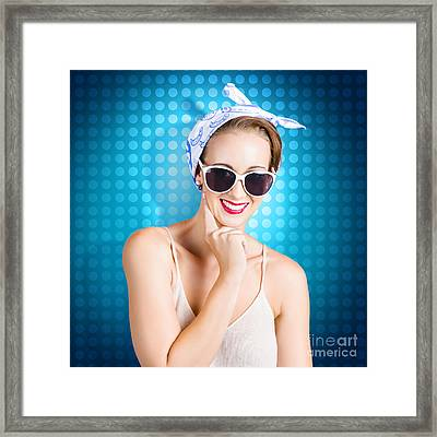 Elegant Pinup Woman Wearing Classic Retro Fashion Framed Print by Jorgo Photography - Wall Art Gallery