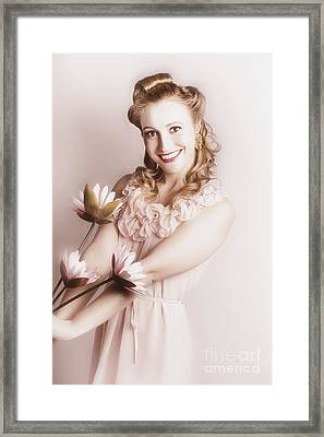 Elegant Smiling Vintage Woman Holding Flower Bunch Framed Print by Jorgo Photography - Wall Art Gallery