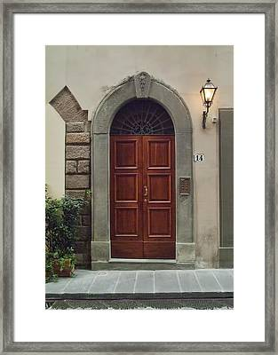 Framed Print featuring the photograph Elegant Tuscan Door by Michael Flood