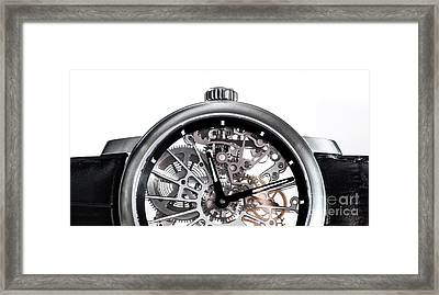 Elegant Watch With Visible Mechanism, Clockwork Close-up. Framed Print