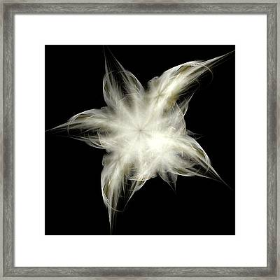 Framed Print featuring the digital art Elegant White Feathers by Richard Ortolano