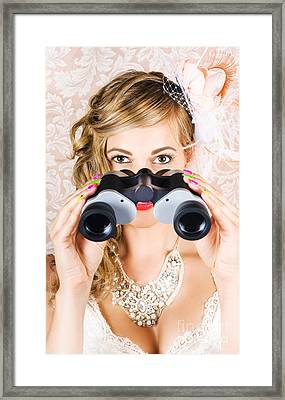 Elegant Woman Watching Spring Carnival Horse Races Framed Print by Jorgo Photography - Wall Art Gallery