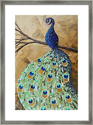 Elegantly Perched Peacock Framed Print by Christine Krainock