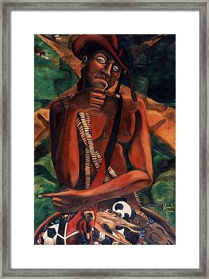 Elegba At The Crossroads Framed Print by Karmella Haynes