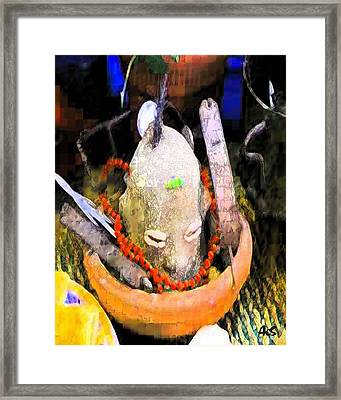 Elegua By The Door Framed Print