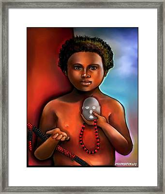 Elegua -child Orisha Framed Print by Carmen Cordova