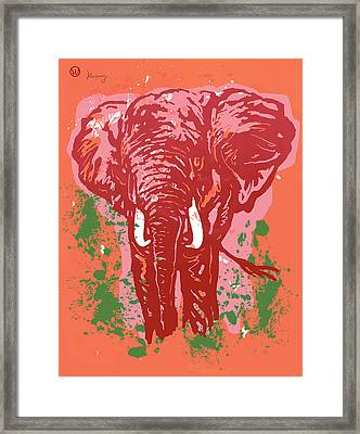 Elehpant Pop Art Etching Poster  Framed Print by Kim Wang