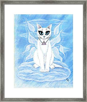 Framed Print featuring the painting Elemental Air Fairy Cat by Carrie Hawks