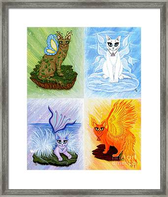 Framed Print featuring the painting Elemental Cats by Carrie Hawks