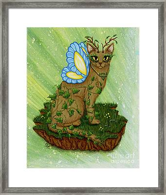 Framed Print featuring the painting Elemental Earth Fairy Cat by Carrie Hawks