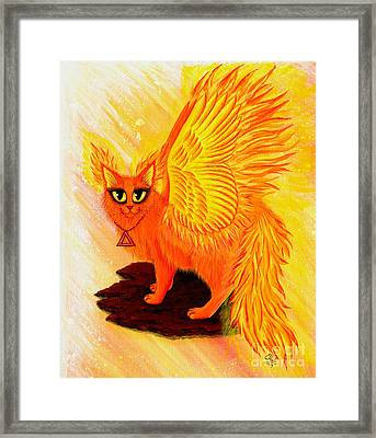 Framed Print featuring the painting Elemental Fire Fairy Cat by Carrie Hawks