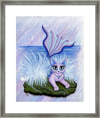 Framed Print featuring the painting Elemental Water Mermaid Cat by Carrie Hawks