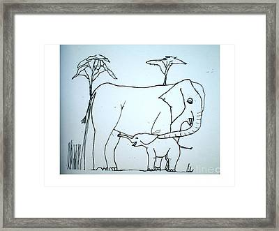 Elepahant And Baby Framed Print by Hal Newhouser