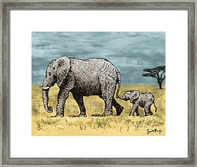 Elephant And Baby Framed Print by Scott Rolfe