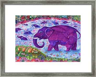 Elephant And Mice Framed Print by Jane Tattersfield